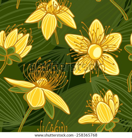 Seamless floral pattern. Yellow flowers with green leaves on green backgrounds. - stock vector