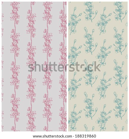 Seamless floral patterns. Hand drawn cherry flowers. Vector illustration. - stock vector
