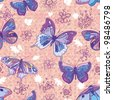 Seamless floral PINK  pattern. Floral background. Seamless pattern with flowers and butterfly - stock vector