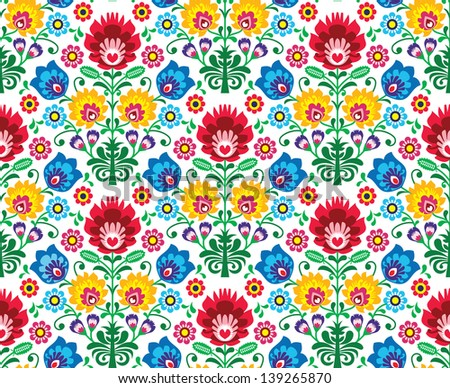 Seamless floral polish pattern - ethnic background - stock vector