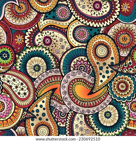 Seamless floral retro background pattern in vector. Henna paisley mehndi doodles design  pattern. Used clipping mask for easy editing. - stock vector