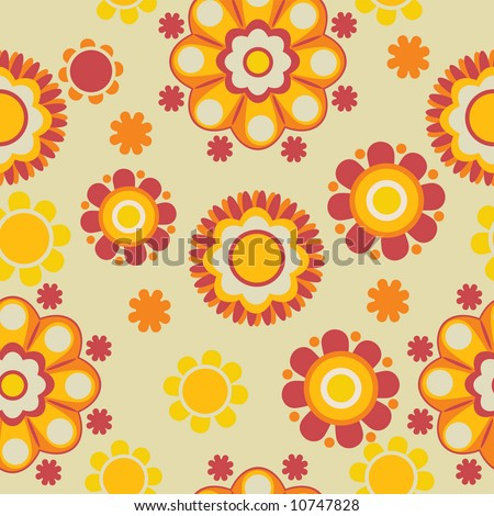 seamless floral retro pattern - stock vector