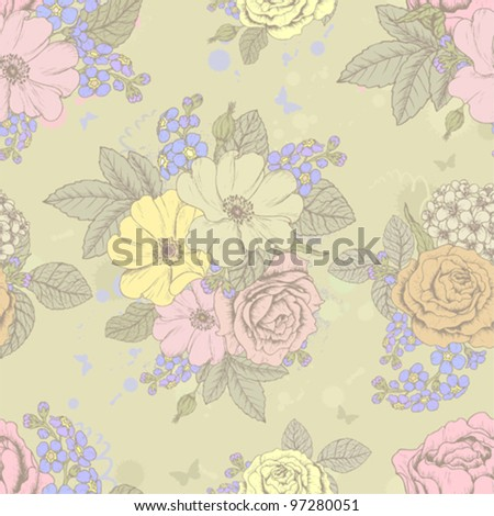 Seamless floral retro pattern with butterflies - stock vector