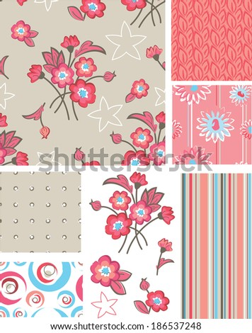 Seamless Floral Rose Patterns and Icons. Use as fills or print off onto fabric to create unique items. - stock vector