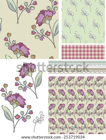 Seamless Floral Rose Patterns.  Use as pattern fills to create stunning items for art and craft projects. - stock vector