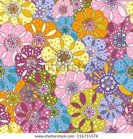 Seamless floral spotty vivid pattern with colorful flowers (vector)