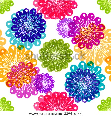 Seamless floral spring pattern with translucent flowers and balls on black vector EPS 10 - stock vector