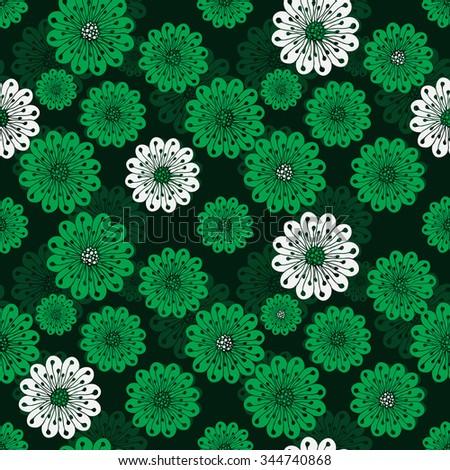 Seamless floral spring pattern with translucent vintage green and white flowers, vector EPS 10 - stock vector