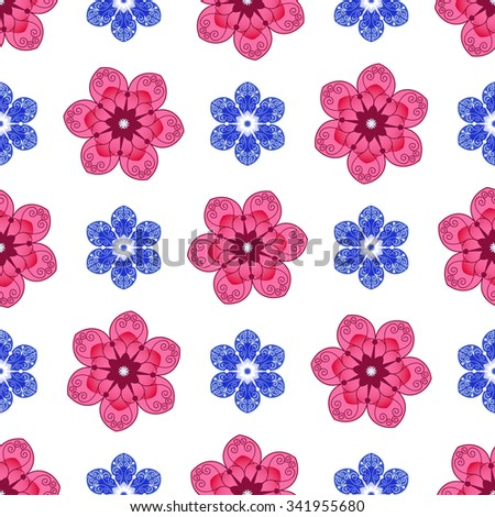 Seamless floral spring pattern with translucent vintage red and blue flowers,  vector EPS 10 - stock vector