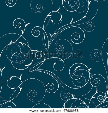 Seamless floral swirl pattern - stock vector