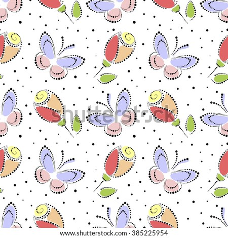 Seamless floral vector pattern. Colorful ornamental background with butterflies and roses. Decorative repeating ornament, Series of Floral and Decorative Seamless Pattern. - stock vector