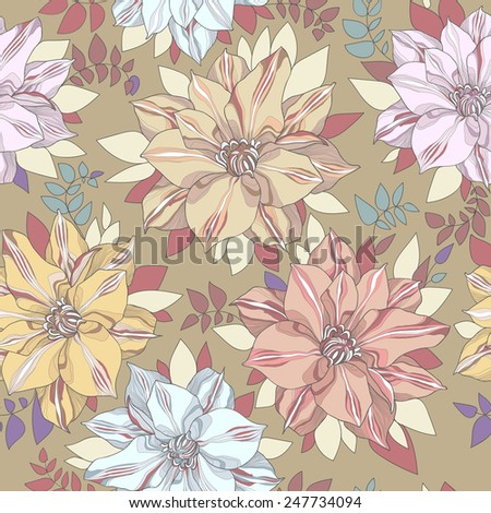 Seamless floral vector pattern. Multi-colored flowers and leaves of the mustard background in warm colors with bright color accents. - stock vector
