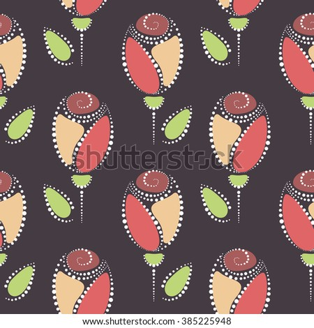 Seamless floral vector pattern. Symmetrical colorful ornamental background with roses. Decorative repeating ornament, Series of Floral and Decorative Seamless Pattern. - stock vector