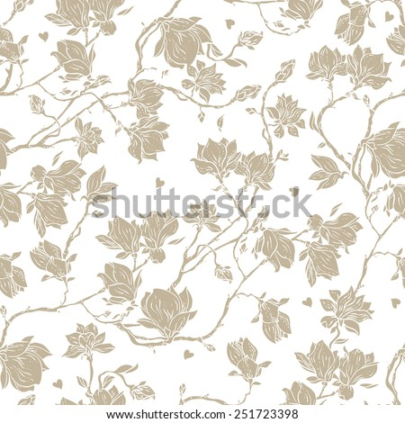 Seamless floral vector pattern with magnolia blossom. Vintage stylized. Can be used for cards, invitations, fabrics, wallpapers, scrap-booking, ornamental template for design and decoration, etc - stock vector