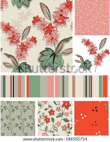 Seamless Floral Vector Patterns and Icons. Use as fills or print off onto fabric to create unique items. - stock vector