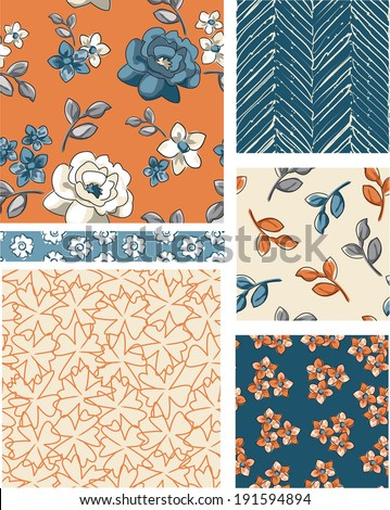 Seamless Floral Vector Patterns. Use as fills, digital paper, or print off onto fabric to create unique items. - stock vector