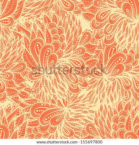 Seamless floral vintage  orange doodle pattern - stock vector