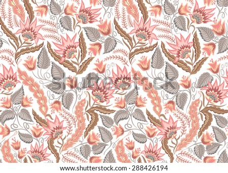 Seamless floral vintage pattern. Vector decorative background for fabric, textile, wrapping paper, web pages, wedding invitations, save the date cards. - stock vector