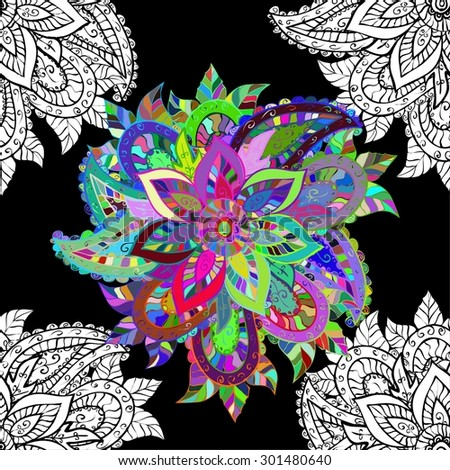 Seamless floral vivid pattern with colorful flowers on black. Vector illustration. - stock vector