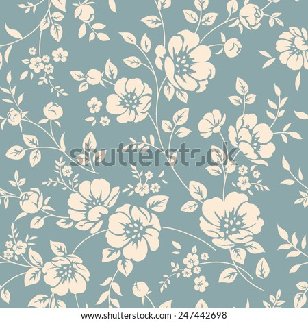 Seamless floral wallpaper. Pattern in classic style with flowers and twigs. Two tone ornament - stock vector