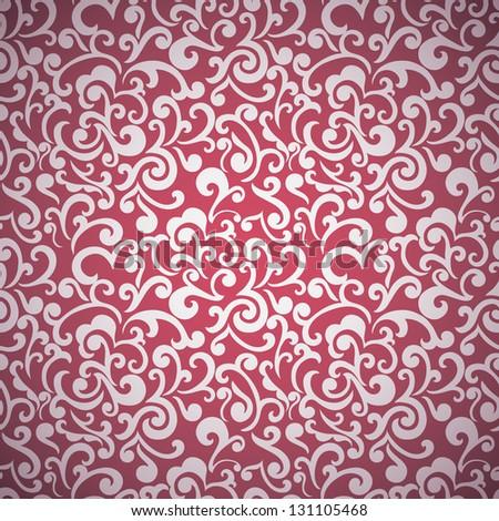 Seamless floral wallpaper, swirls design, elegant - stock vector