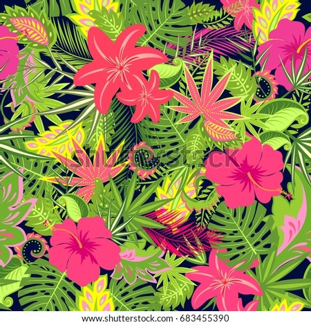 Seamless Floral Wallpaper With Exotic Flowers Palm Leaves And Tropical