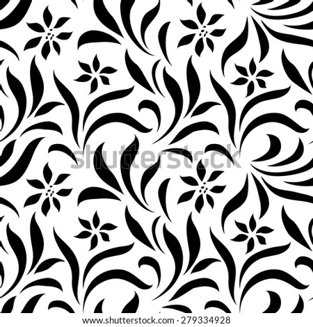 Seamless floral wallpaper with lines - stock vector