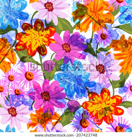 Seamless floral watercolor background - stock vector
