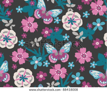 seamless floral with butterfly on dark grey background - stock vector