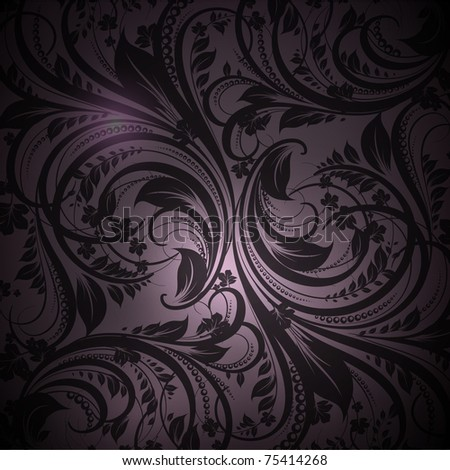 Seamless floral with flowers wallpaper pattern, black - stock vector