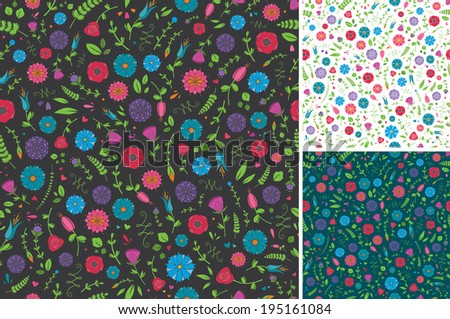 Seamless Flower and Leaf Pattern - stock vector