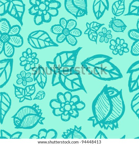 Seamless flower collage background - stock vector