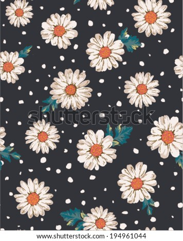 seamless flower,daisy print pattern dot background - stock vector