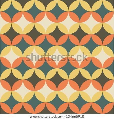 Seamless flower geometric pattern background - stock vector