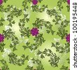 Seamless flower green vector pattern. - stock vector