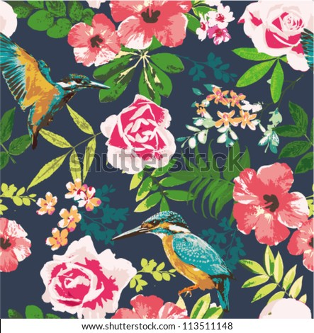 seamless flower pattern background - stock vector