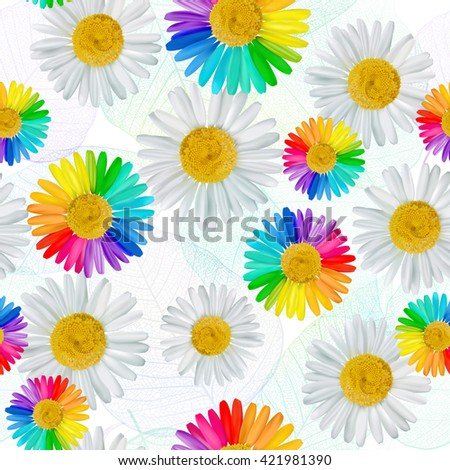 Seamless flower pattern background. White and multicolored daisies, chamomile flowers. Vector illustration, EPS10. - stock vector