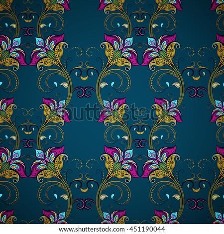 Seamless flower pattern. Blue, green, pink shades. Dark background. Vintage oriental style - stock vector
