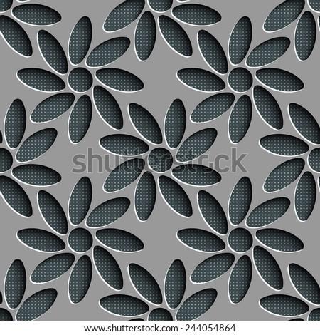 Seamless Flower Pattern. Vector Gray Background - stock vector