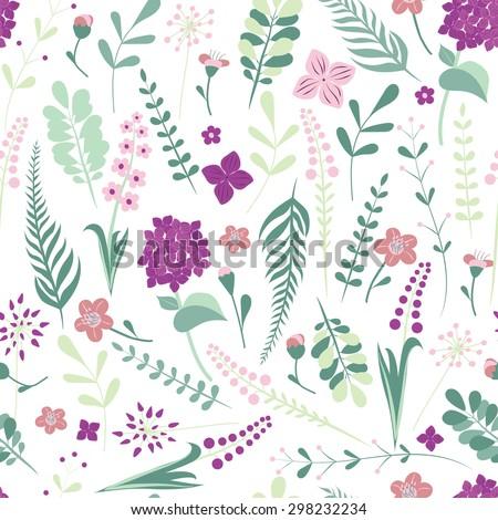 Seamless flower pattern wallpaper. Editable vector. - stock vector