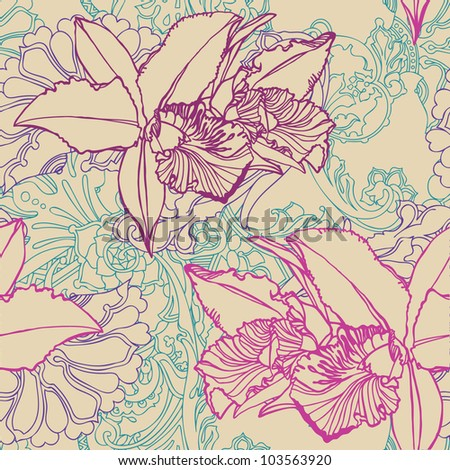 seamless flower pattern with orchids and ornament, floral vector - stock vector