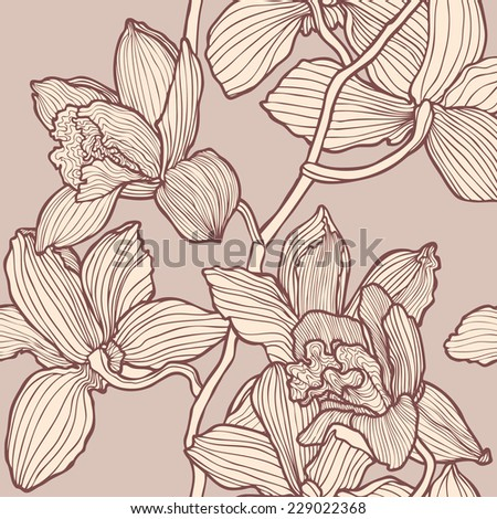 seamless flower pattern with orchids, floral vector - stock vector