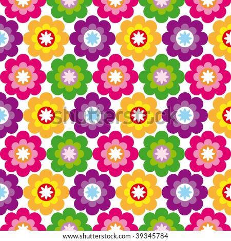 Seamless flower retro pattern in vector - stock vector