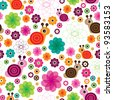 Seamless flower snail kids background pattern in vector - stock vector