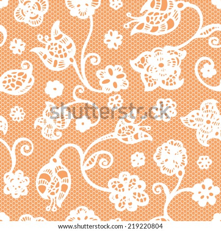 Seamless flower white lace. Vector illustration