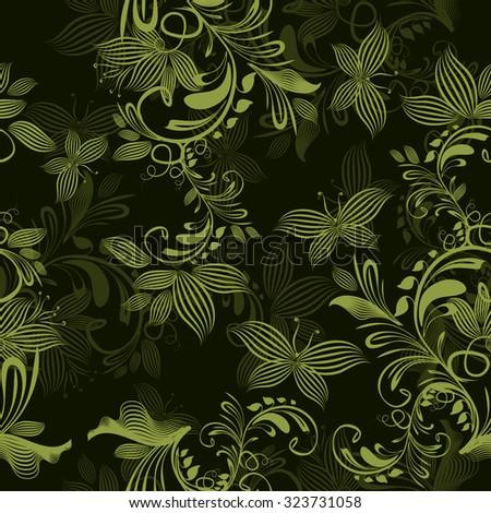 seamless flowers and butterflies. Vector - stock vector