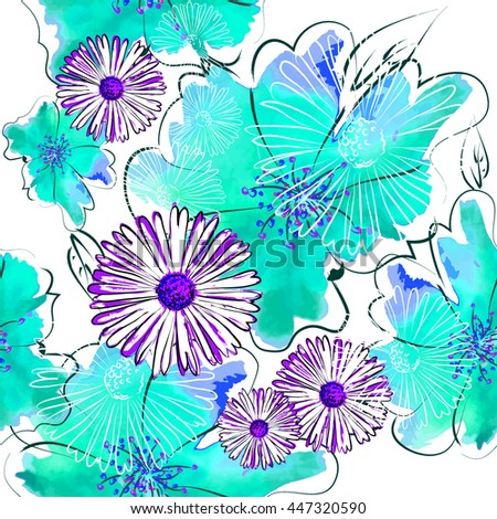 Seamless flowers background from blots. Vector - stock vector