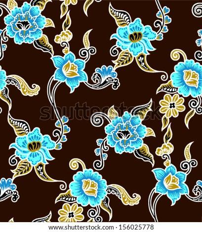 ... flowers beautiful batik background. vector floral. - stock vector