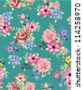 seamless flowers,floral pattern. beautiful  roses,camellia,neon touch leaves - stock