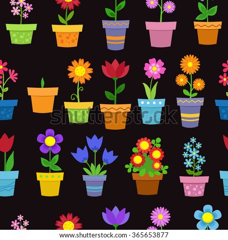 Seamless flowers in pots background pattern.